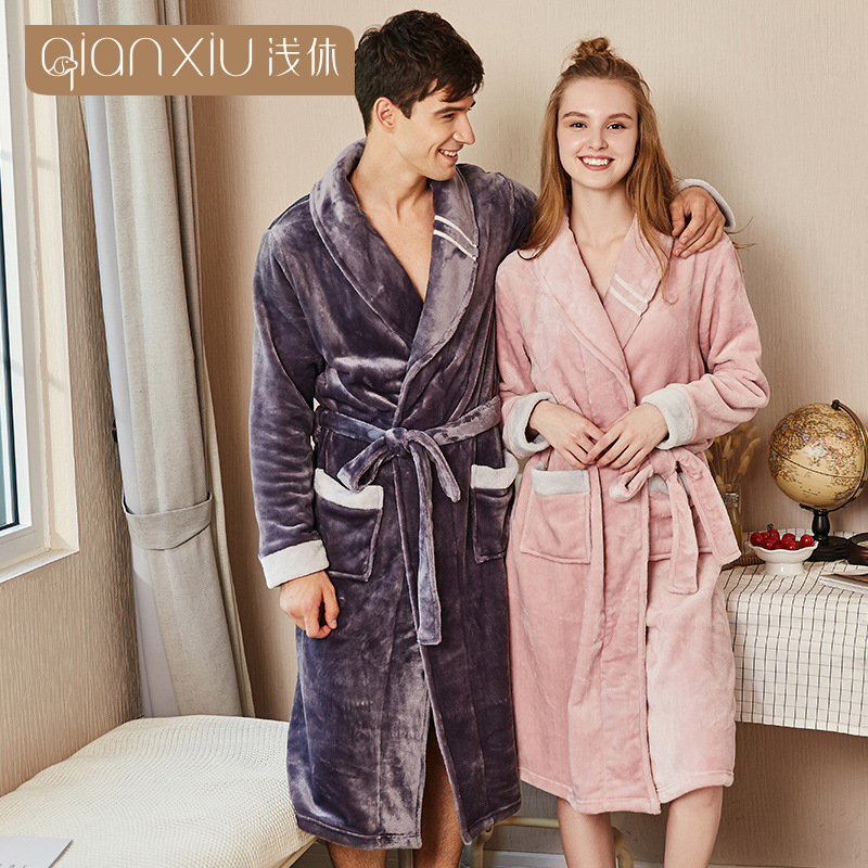 Lovers Dress for Men and Women Warm Super Soft Flannel Coral Fleece Long  Bath Robe Mens Kimono Bathrobe Male Dressing Gown Robes fc94e443e