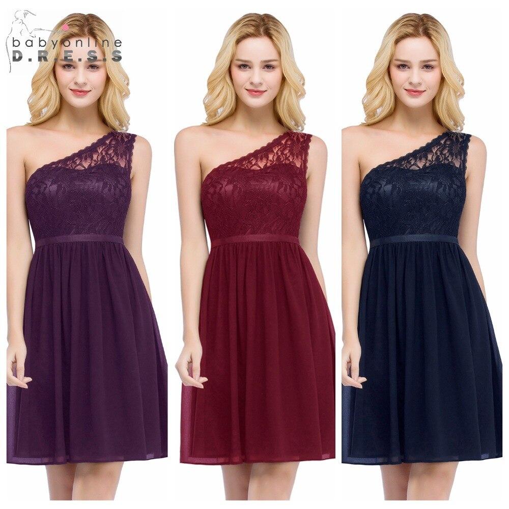 Babyonline One Shoulder Lace Short Cocktail Dresses 2019 Zipper Up Back Party Dresses Little Black Dress robe cocktail courte