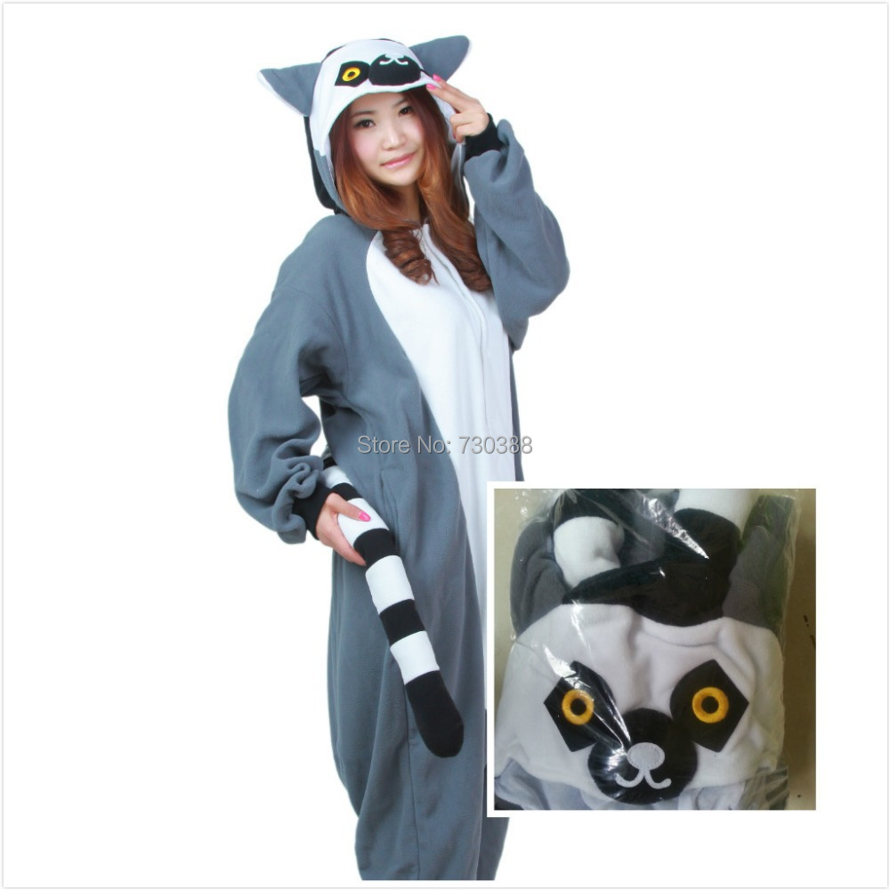 a1313570f3 ... Pajamas Jumpsuit Hoodies Sleepwear For  competitive price 37f22 b912a  Novelty Cosplay Animal Lemur Long Tail Monkey Adult Women Men Unisex Onesie  ...