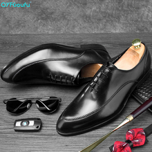 QYFCIOUFU 2019 high quality Genuine Leather Dress Shoes Men Engraving Wedding Office Handmade Mens formal shoes New oxford