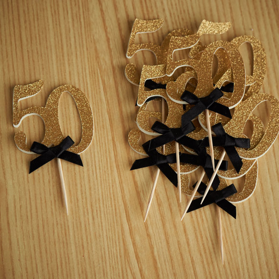 Custom 50th Birthday Cupcake Topperswedding Anniversary Cake Topper Gold Glitter Food Picks Party Ideas