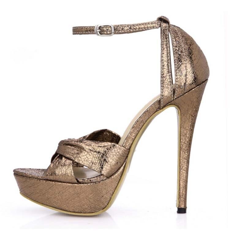 9a887bc6f 2017 chegada nova mulher sexy gladiador sandálias de salto alto plataforma  fivela couro PU bombas de verão sapatos de salto alto sapatos femininos