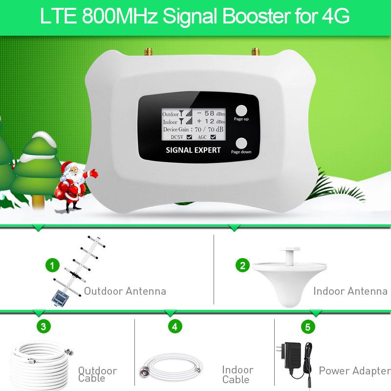 Chaud! Amplificateur de Signal Mobile 4G LTE 800 MHz amplificateur de téléphone portable 4g répéteur de signal cellulaire 4G avec kit d'antenne Yagi + plafond