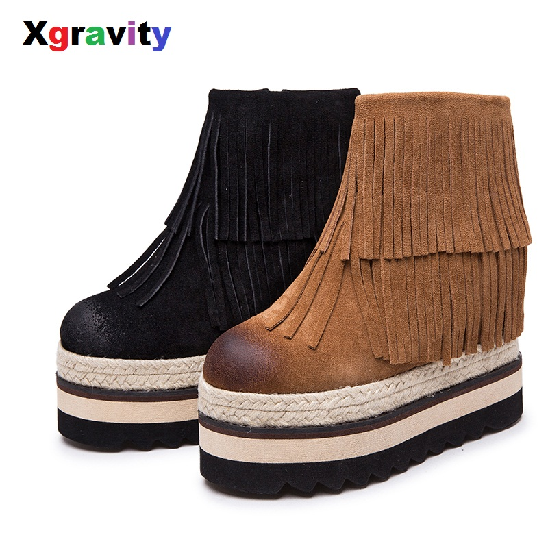 XGRAVITY European Winter Warm Shoes Genuine Leather Round Toe High Heel Autumn Shoes Ankle Short Tassel Wedge Snow Boots S039 nayiduyun women genuine leather wedge high heel pumps platform creepers round toe slip on casual shoes boots wedge sneakers