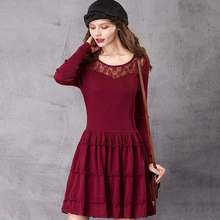 b263b4d8 ARTKA Women's New Autumn Round Neck Sexy Lace Woolen Dress Casual Comfy Long  Sleeve Pleated One Piece Mini Dress LB10867Q