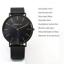 2017 mens relojes hombres de moda de lujo reloj de cuarzo negro simulado reloj de malla de acero inoxidable 2 oro manos relogios Masculino