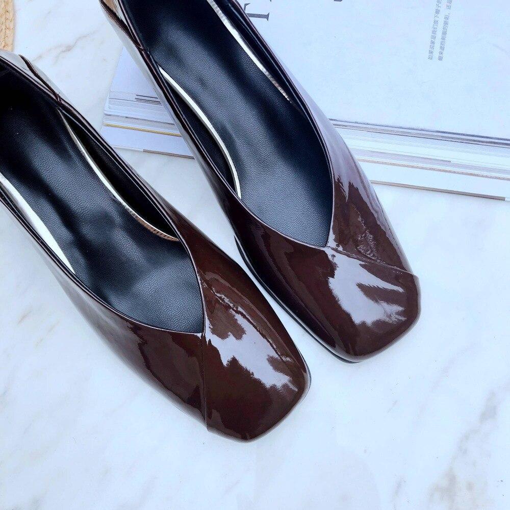 Europeo superestrellas cuero natural diseño vintage punta cuadrada tacones gruesos med slip on office lady clubwear zapatos hermosos L67-in Zapatos de tacón de mujer from zapatos    2