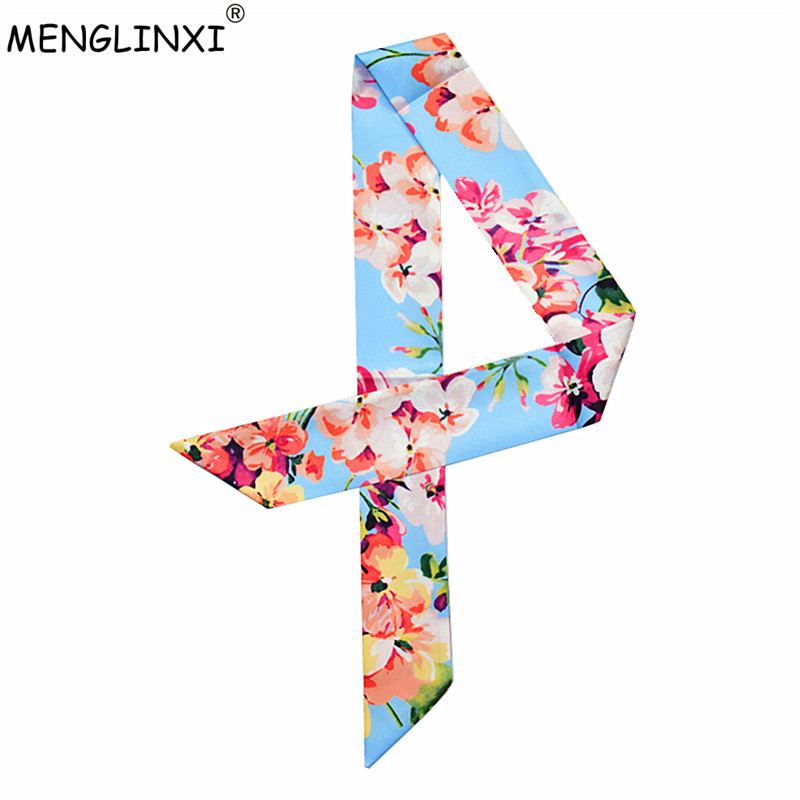 2020 Luxury Brand Women Small Print Silk Scarf Floral Style Head Scarf Headband Handle Bag Ribbons Female Tie Small Long Scarves