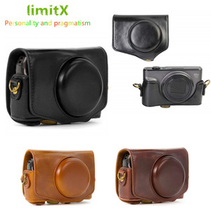Image 1 - Retro PU Leather Camera bag hard case cover with Strap For Canon Powershot SX740 HS SX730 HS SX720 HS Digital Camera
