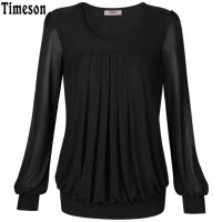 Timeson Women Tops And Blouses 2017 New Fashion Office Shirt Ladies Tops Casual Loose Long Lantern