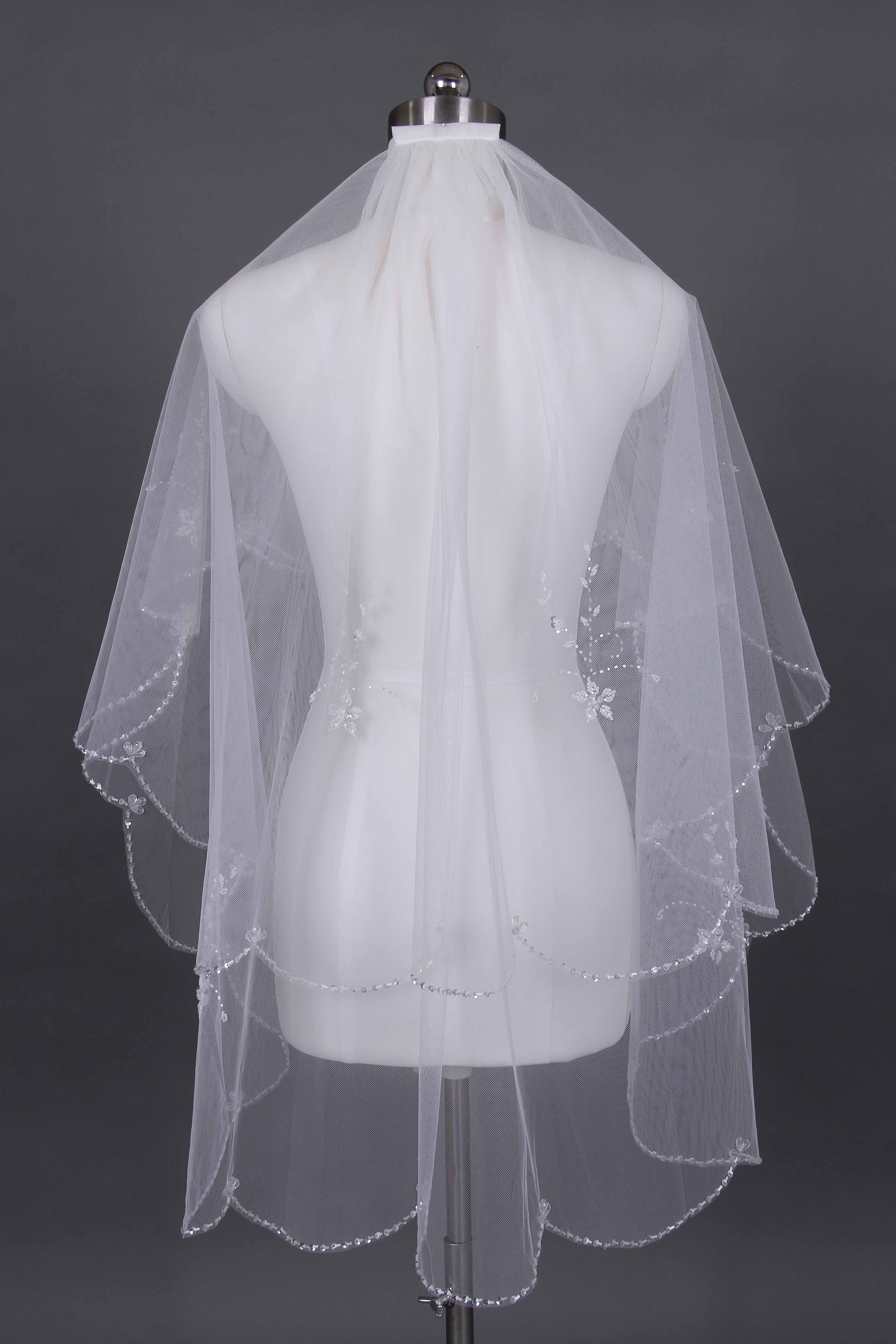 2 tier scalloped veil Elbow Length Bridal Veil hand beads embroidered White Beige wedding veil& comb