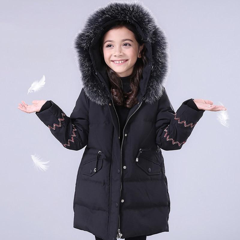 2017 Winter Children Furry Collar Down Jacket Black Pink Princess Warm Clothes Kids Cute Coat Age56789 10 11 12 13 14 Years old детский велосипед для девочек mtr black aqua princess 14 kg1402 pink