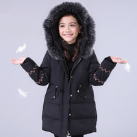2017 Winter Children Furry Collar Down Jacket Black Pink Princess Warm Clothes Kids Cute Coat Age56789 10 11 12 13 14 Years old