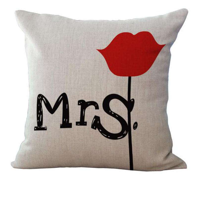 Best Price Cute Funny Red Lovers Letter Series Cotton Pillow Cushion  Decoration Gift Birthday Bedding Outdoor Chair Home