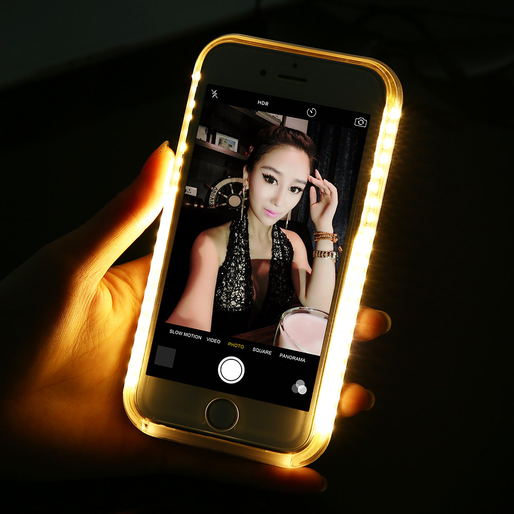 huge selection of d394c 9d300 US $8.99 10% OFF Selfie light Phone Case For Samsung Galaxy S6 edge S7 edge  S 6 7 Selfie Light Case For Galaxy S6 edge Up Glowing Phone Case S7 6-in ...