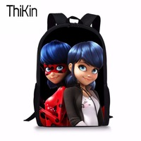 THIKIN Miraculous Ladybug Print Backpack Children Primary School Bags For Boys Girls Schoolbag Teenager Backpack Cool