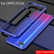 Синий цвет Алюминиевый металлический каркас жесткий прозрачный чехол из закаленного стекла для OPPO R15X r15x задний чехол для OPPO R 15 X защитный чехол