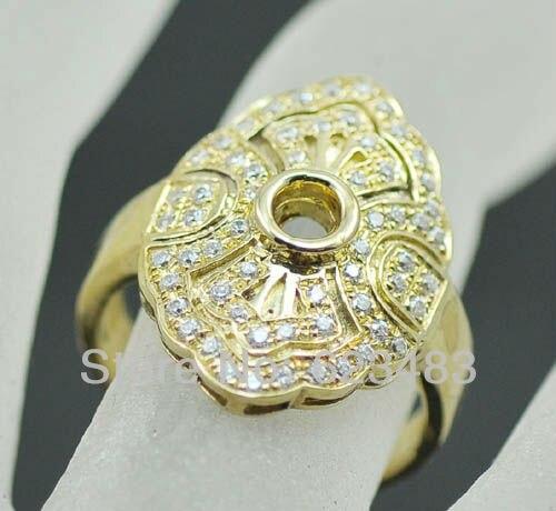 Круглая огранка 6 мм 14 К твердого желтого золота бриллианты натуральный Обручение обручальное кольцо
