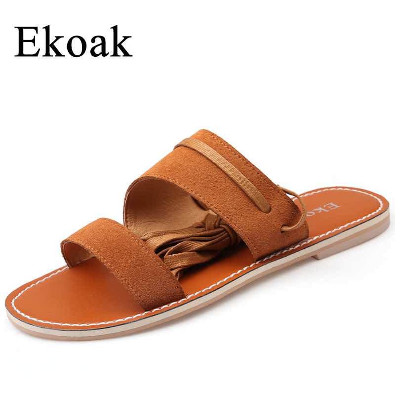 Ekoak New 2018 Fashion Genuine Leather Women Sandals Summer Shoes Woman Rome Sexy Lace-Up Women Flats Sandals Casual Beach Shoes summer shoes woman handmade genuine leather soft sandals casual comfortable women shoes 2017 new fashion women sandals