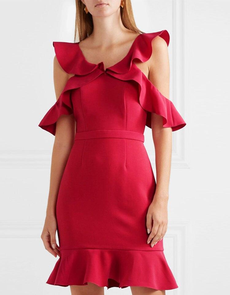 HEE GRAND/Для женщин красный Мини платье Вечеринка оборками платья Сексуальная Клубная одежда плюс Размеры XXL женские туники Blackless халаты WQS2291