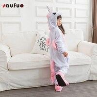 Saufuo Pink Unicorn Pajamas Kid Pijama De Unicornio Unisex Pajamas Winter Cartoon Adult Sleepwear Cosplay Costume