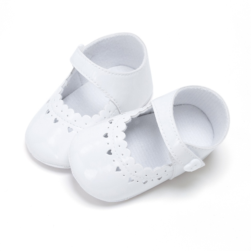 Infant Baby Girls PU Leather First Walkers Heart Hollow-out Princess Soft Sole Shoes