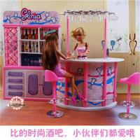 For Barbie Doll Furniture Accessories Plastic Toy Bar Supermarket Store Supermarket Shopping Mall Checkout Counter Gift Girl DIY