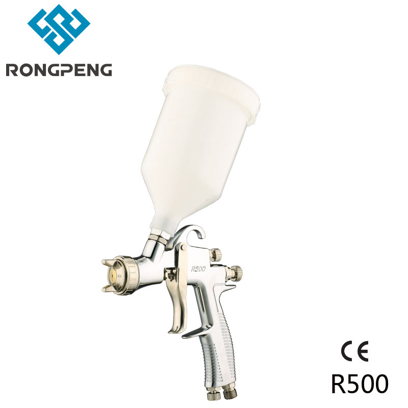 Rongpeng LVLP Air Spray Gun R500 Car Finish Painting Tool 1.5mm Nozzle 600cc Cup Gravity Feed Copper Air Cap Factory Wholesale