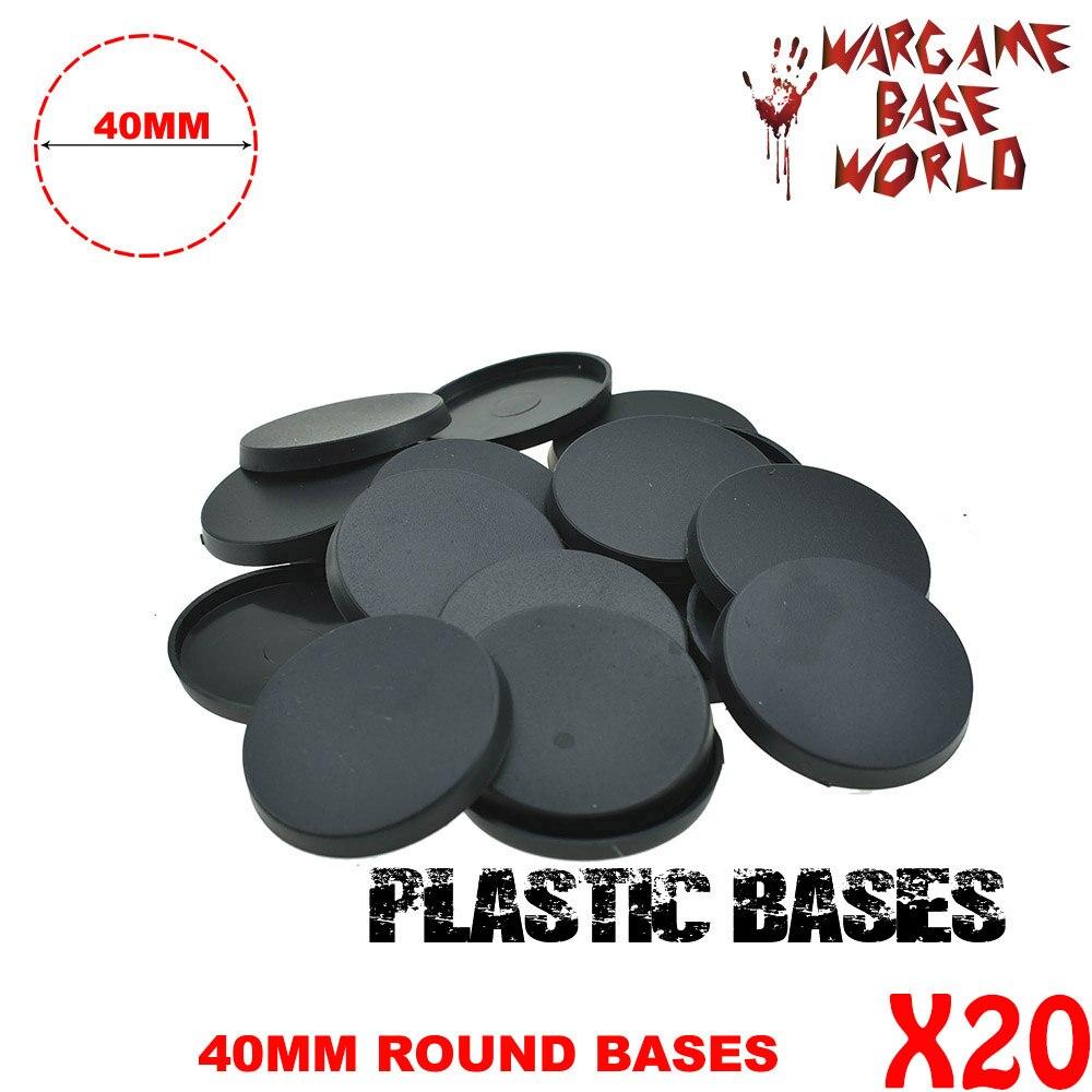 20 قطعة 40 مللي متر قواعد ألعاب بلاستيكية مستديرة مصغرة للألعاب الحربية