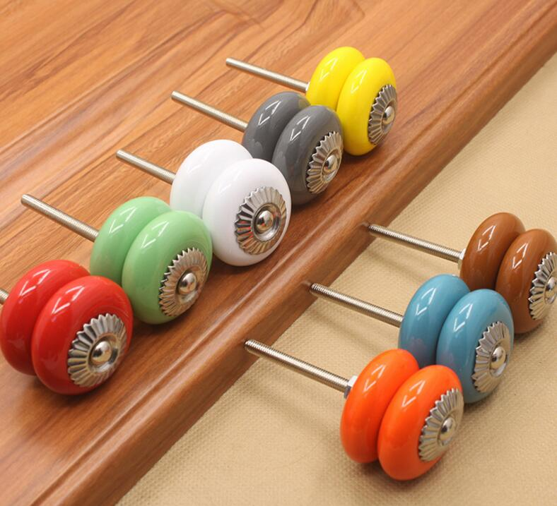 8 Color European Style Ceramic Furniture Drawer Handle and Pulls Brief Silver Ceramic Cabinet Knobs candy color bear ceramic drawer handle for children lovely furniture fittings