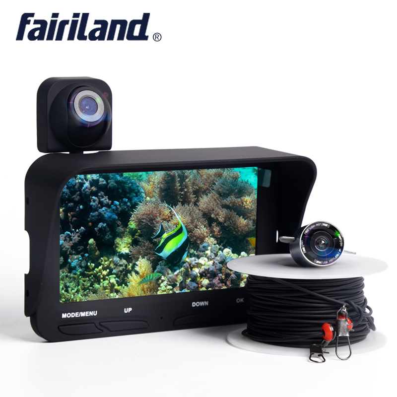 2 cameras fish finder with underwater& overwater cameras support video record boat depth finder fish detector Fishing tackle