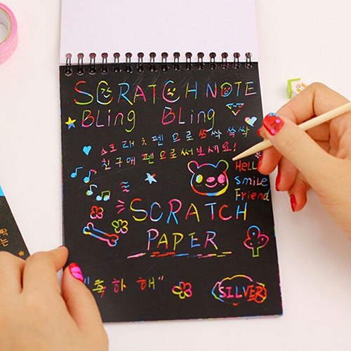 Kids Rainbow Colorful Scratch Art Kit Hard Copybook Magic Drawing Painting Paper Notebook Gift