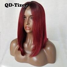 QD   Tizer สั้น Burg สี Bob วิกผมลูกไม้สังเคราะห์ด้านหน้าวิกผม Ombre สองโทนสีลูกไม้ด้านหน้าวิกผมสำหรับผู้หญิง