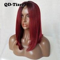 QD-Tizer Krótki Burg Kolor Bob Włosy Syntetyczne Koronki Peruki Glueless przodu Peruka Ombre Two Tone Kolor Koronki Przodu Peruka dla kobiety