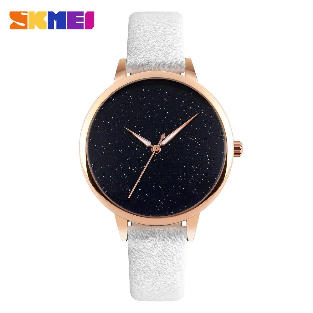 SKMEI Quartz Watch 9141 Women Leather Bracelet Ladies Star Dial Wristwatches Female Fashion Casual Clock Relojes Mujer