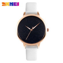 SKMEI Quartz Watch 9141 Women Leather Bracelet Ladies Star Dial Wristwatches Female Fashion Casual Clock Relojes Mujer