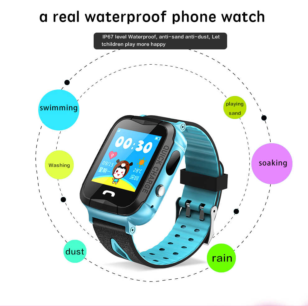 6ae71c23f ... Kids Watch IP68 Waterproof with Camera AGPS Tracker Positioning Color  Touch Screen Smart Baby Watch Phone ...