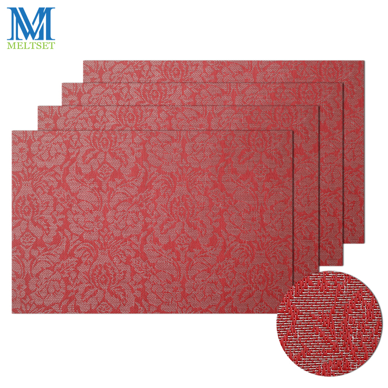 4pcs/Set Rose Pattern PVC Placemats Coasters Waterproof Non-slip Dining Table Mats With Box Packing