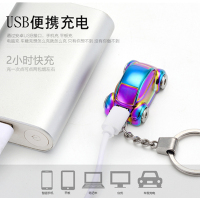 2017 New Cigarette Windproof Lighter Metal Car Styling Keyring Keychain USB Electronic Rechargeable Smoke Key Ring