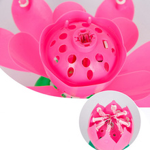 Art Musical Candle Lotus Flower Birthday Party Rotating Lights 8/14 Candles Lamp Decor