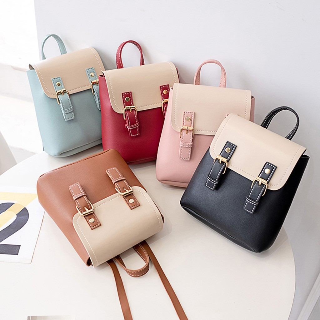 Mini Backpack Women PU Leather Shoulder School Bag For Teenage Girls Fashion Patchwork Female Ladies School Backpack  #10