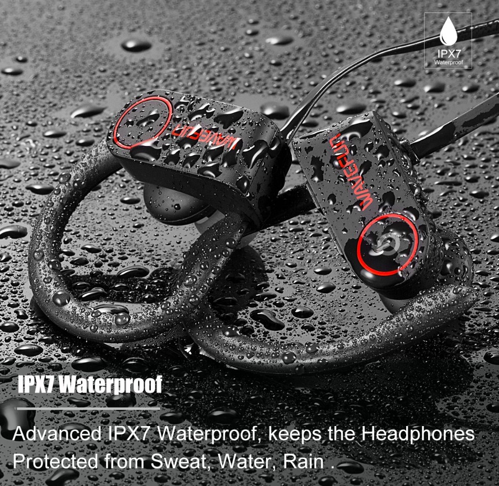 Wavefun bluetooth headphones IPX7 waterproof wireless headphone sports bass bluetooth earphone with mic for phone iPhone xiaomi 2