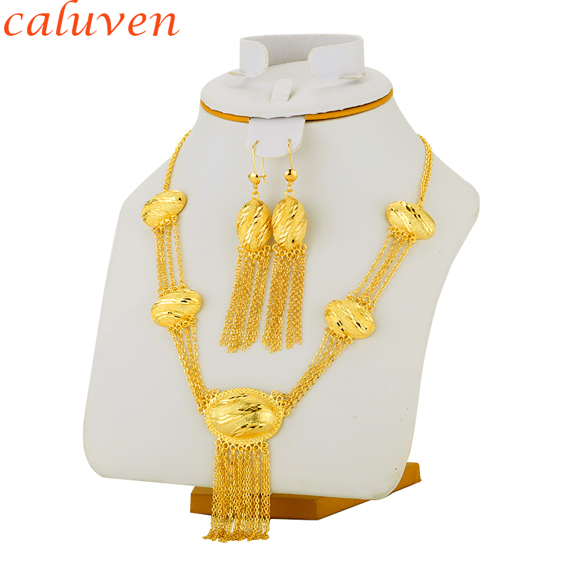 Ethiopian Jewelry sets Gold Color Necklace/Earring India/African/Dubai/Ethiopia/Nigeria/Arabic Women Wedding Bride Gifts