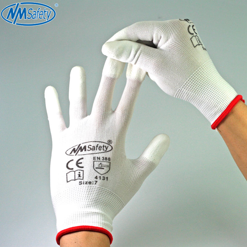 NMSafety 2/6/12 Pairs White Polyurethane Dipping Finger Anti Static Safety <font><b>Work</b></font> Glove