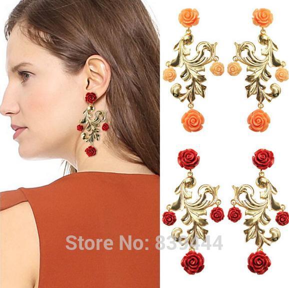 2014 Hot Selling Jewelry Fashion Earring Resin Wholesales Popular Women Vintage Flower Party Long Earrings Jewelry & Accessories