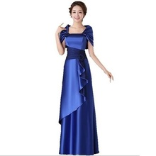 Cheap Satin Gold Royal Blue Evening Dresses Long Plus Size Elegant Formal Party Gowns for Women Mother of Bride With Jacket B45