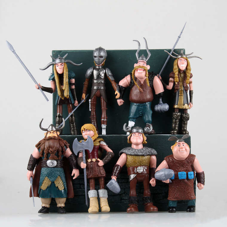Free Shipping Cute 8pcs How to Train Your Dragon 2 Solid Set Viking PVC Action Figure Collection Model Toy Gift (8pcs per set) free shipping synthetic blonde ponytail how to train your dragon 2 heroine astrid cosplay wig
