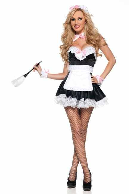 FREE SHIPPING 8595 Sexy French maid waitress servant costume bedroom outfit  fancy dress S,M,L,XL,2XL