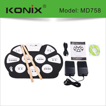 KONIX Foldable Silicon Electronic Roll Up Drum MIDI With Pedals Drum Sticks Portable