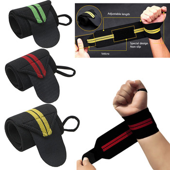 Weight Lifting Strap Fitness Gym Sport Wrist Wrap Bandage Hand Support Wristband mounchain adjustable leather weight lifting fitness crossfit belt lifting strap support stainless lock jaw gym fitness guard